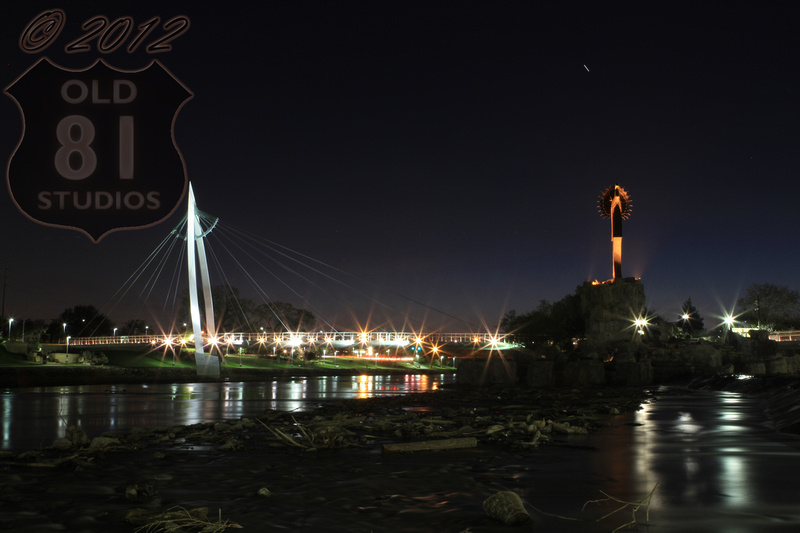 The Keeper of the Plains in Wichita Kansas at night by JC Kirk