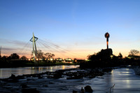 Photograph at sunset of The Keeper of the Plains in Wichita Kansas.