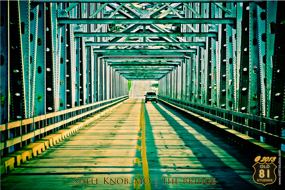 A color photo of the Shell Knob, MO Bridge which sits over Table Rock Lake.  Circa 2007.  Shot in the evening. 07252007 361_LR_hc2_mb_logo_text