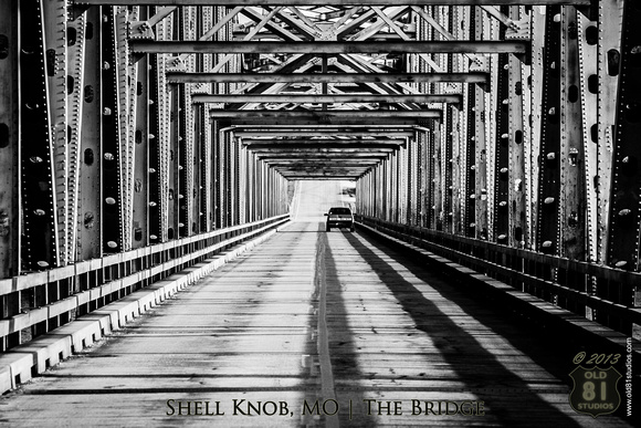 The black and white photo of the Shell Knob, MO Bridge which sits over Table Rock Lake.  Circa 2007.  Shot in the evening. 07252007 361_LR_bwhck_logo_text