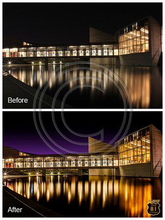 "The Exploration Place ""before and after"" photo at night in Wichita, Kansas.  As shot versus post processed photo."
